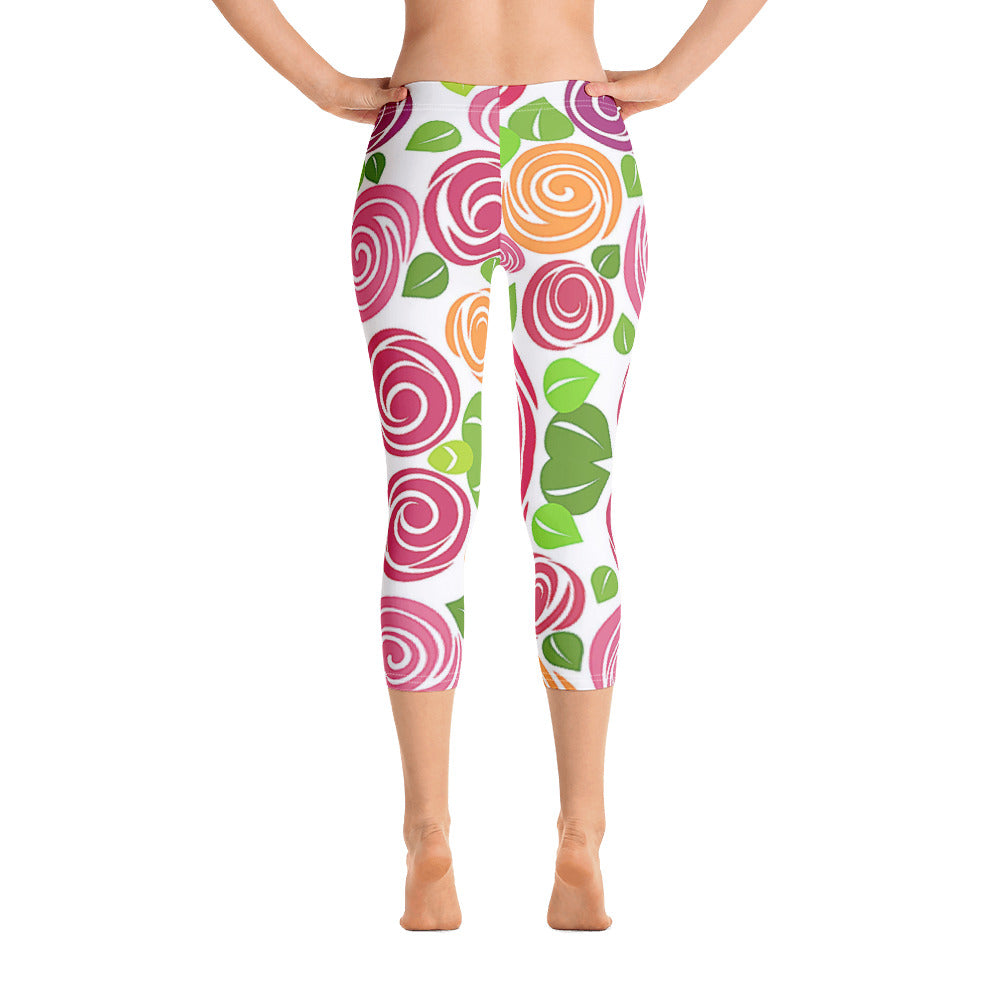 Woman's Rose Fleur Graphic Capri Leggings - Athletic Inspirations Apparel