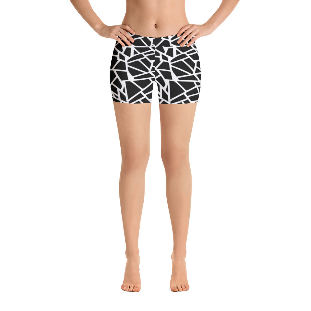 Women's Black Ice Chips Graphic Spandex Shorts - Athletic Inspirations Apparel