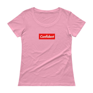 Confident Ladies' Box Logo Scoop neck T-Shirt - Athletic Inspirations Apparel