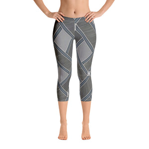 Women's Grey Zag Graphic Capri Leggings - Athletic Inspirations Apparel