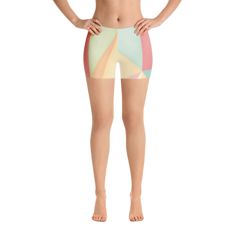 Woman's Colorful Triangle Graphic Spandex Shorts - Athletic Inspirations Apparel