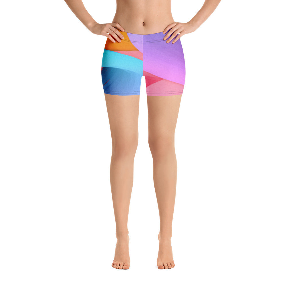 Women's Colorful Paint Stroke Spandex Shorts - Athletic Inspirations Apparel