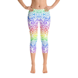 Woman's Rainbow Fleur De Lis Graphic Capri Leggings - Athletic Inspirations Apparel