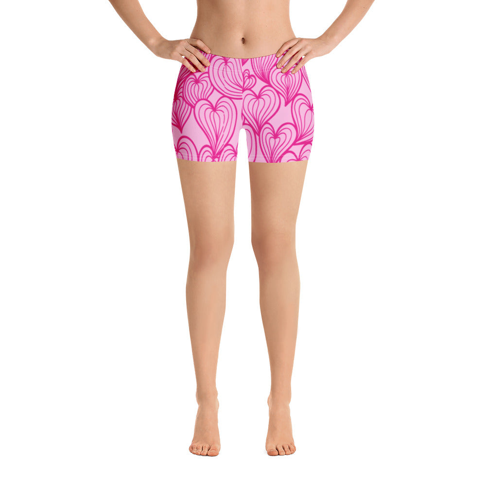 Woman's Pink Hearts Graphic Spandex Shorts - Athletic Inspirations Apparel