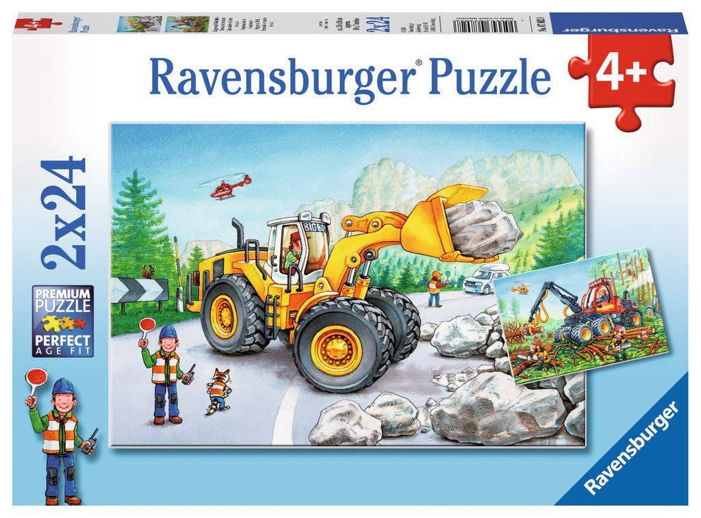 2 x 24pc puzzle Diggers at Work-Ravensburger-booksrusandmore