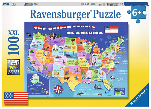 100pc XXL Puzzle USA State Map-Ravensburger-booksrusandmore