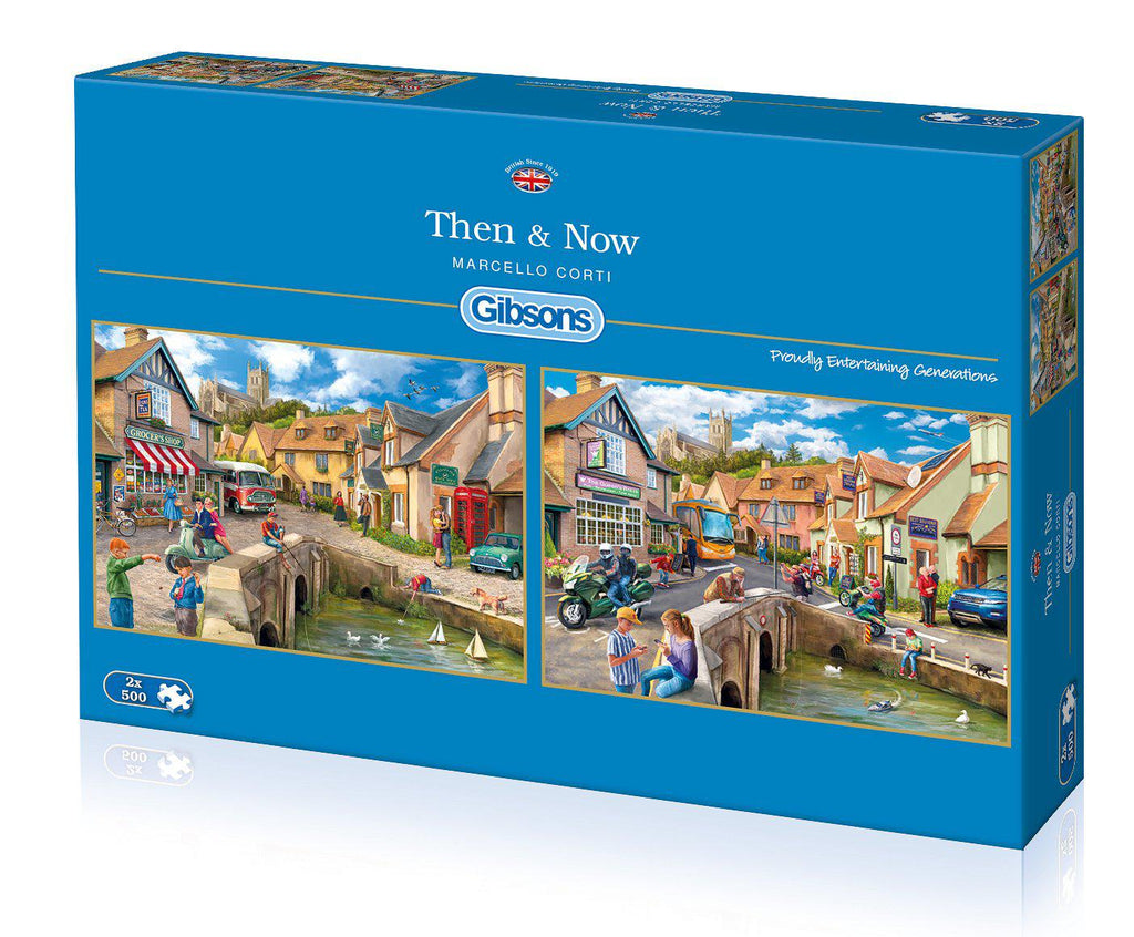 Gibsons 2 x 500pc Puzzles Then and Now-Gibsons-booksrusandmore