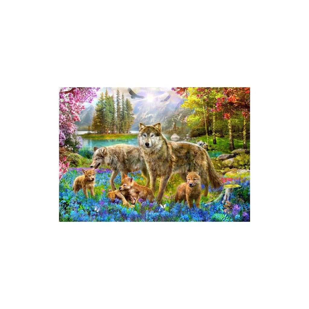 Bluebird Puzzle Spring Wolf Family 1500