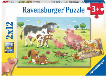 Ravensburger 2 x 12pc Puzzles Happy Animal Families-Ravensburger-booksrusandmore