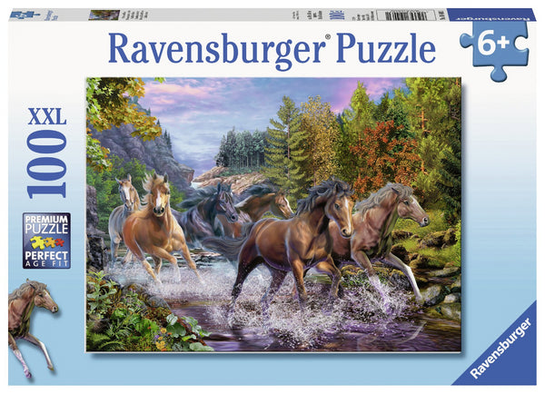 Ravensburger 100pc Puzzle Rushing River Horses-Modern Brands-booksrusandmore