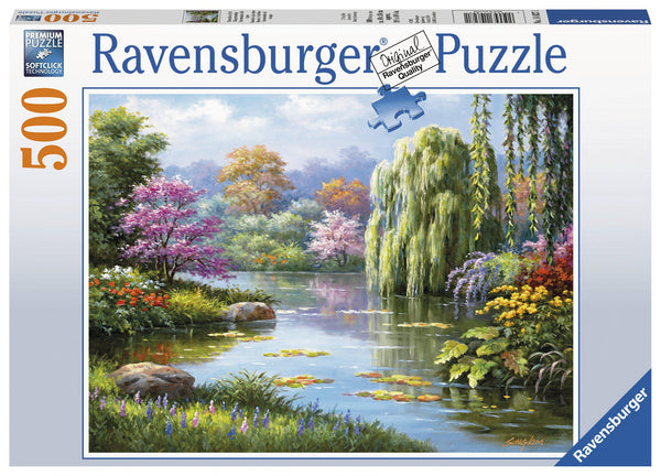 Ravensburger 500 pc Puzzle Romantic Pond View-Modern Brands-booksrusandmore