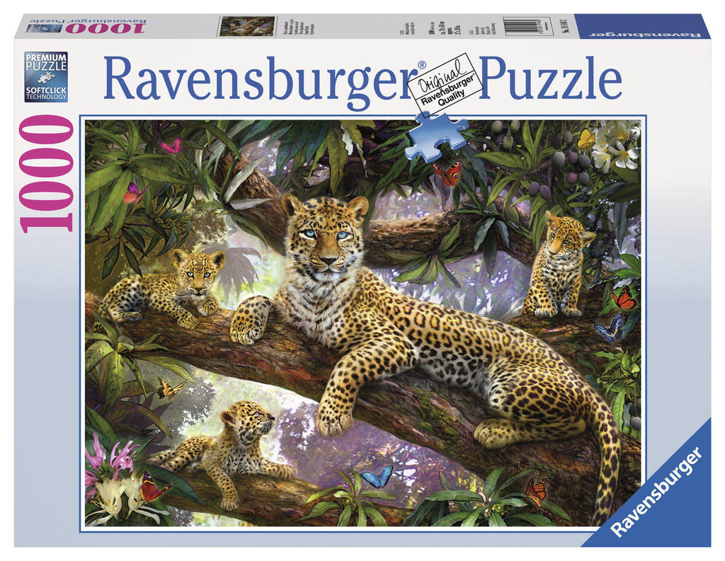 Ravensburger 1000 pc Puzzle Leopard Family-Ravensburger-booksrusandmore