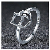 Silver Cat & Heart Ring