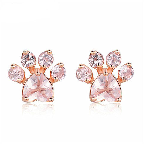 18K Rose Gold Paw Earrings