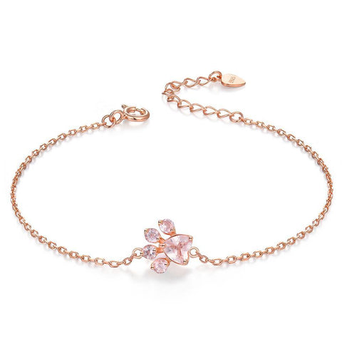 18K Rose Gold Paw Bracelet