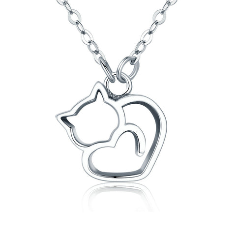 925 Silver Cat & Heart Necklace