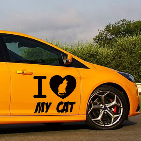 I Love My Cat  Graphic Car Sticker