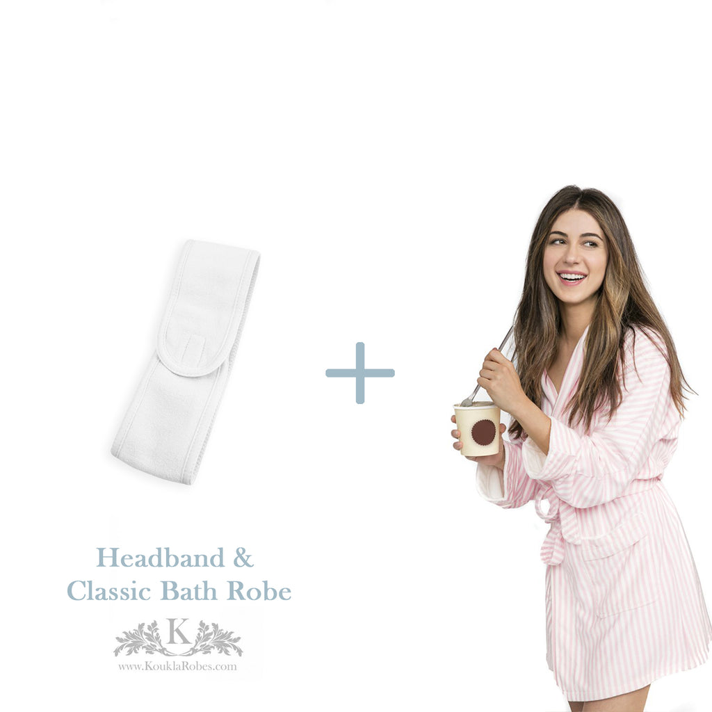 Womens Classic Bath Robe with Headband - Gift Package