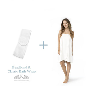 Womens Classic Bath Wrap with Headband - Gift Package