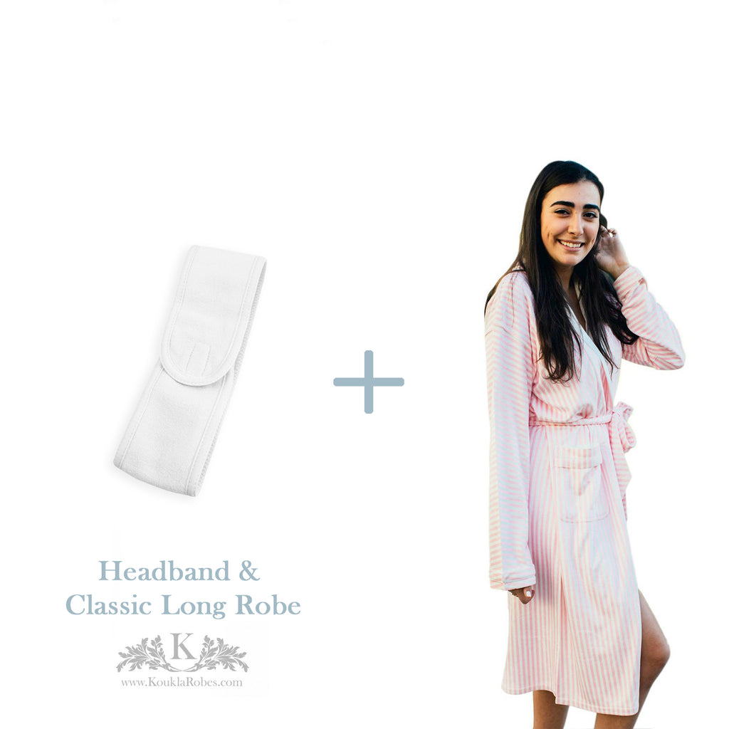 Womens Long Bath Robe with Headband - Gift Package