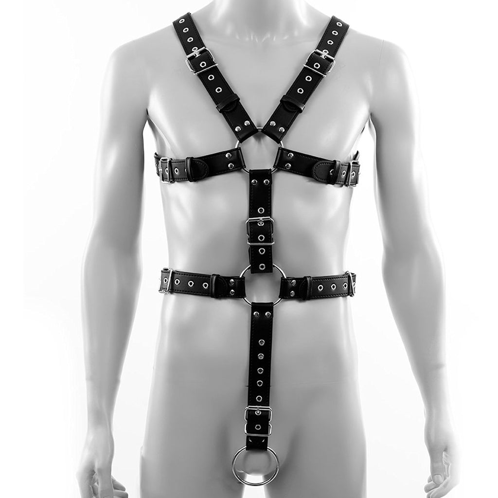 Adjustable PU Leather Full Body Chest Harness for Men