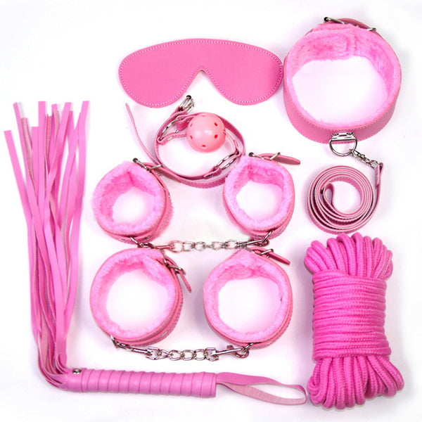 [Deal]BDSM 7pcs Lovers Woollen SM Adult Sex Toys Bondage Restraint Set Handcuffs Whip Rope Games