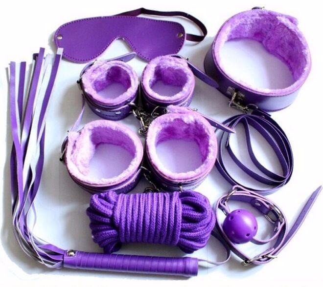 Fifty Shades 7-in-1 Adult Sex Harness Teddy Slave Bondage Body Binding SM Game Restraint Set - Purple
