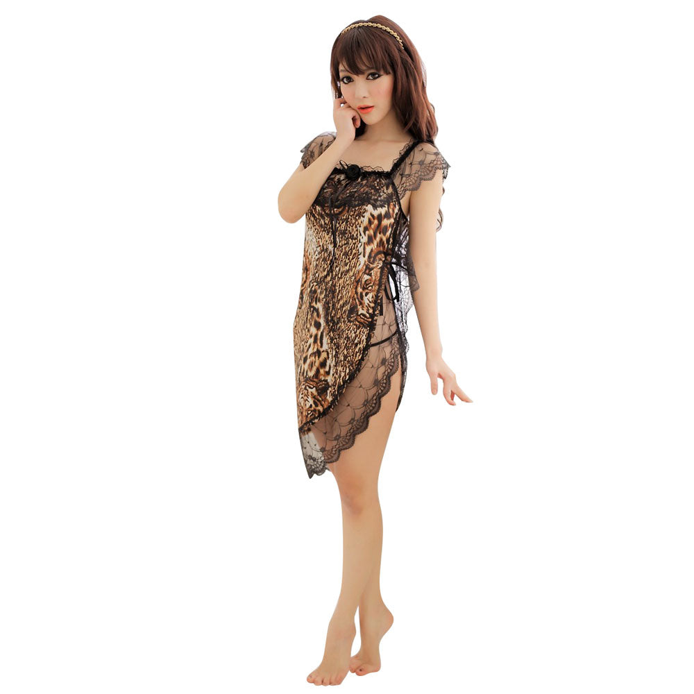 Sexy Leopard Print Side Open Lace Dress & G-String Women's Lingerie Set Leopard