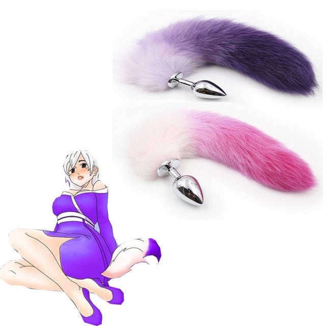 Stainless Steel Fox Tail Beads Anal Butt Plug Adult Games Sex Toys for Women Men