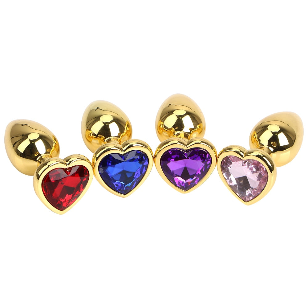 Gold Metal Butt Plug Anal Plug Jewelry Crystal Heart Shaped Sex Toys For Woman Men Gay Masturbation