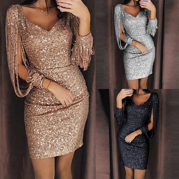 V-Neck Tassels Detail Slit Sleeve Sequin Party Dress Gold Sexy Club Sheath Long Sleeved Mini Dress