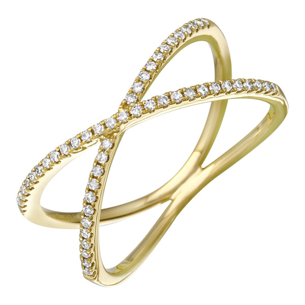 Diamond X Criss Cross Ring