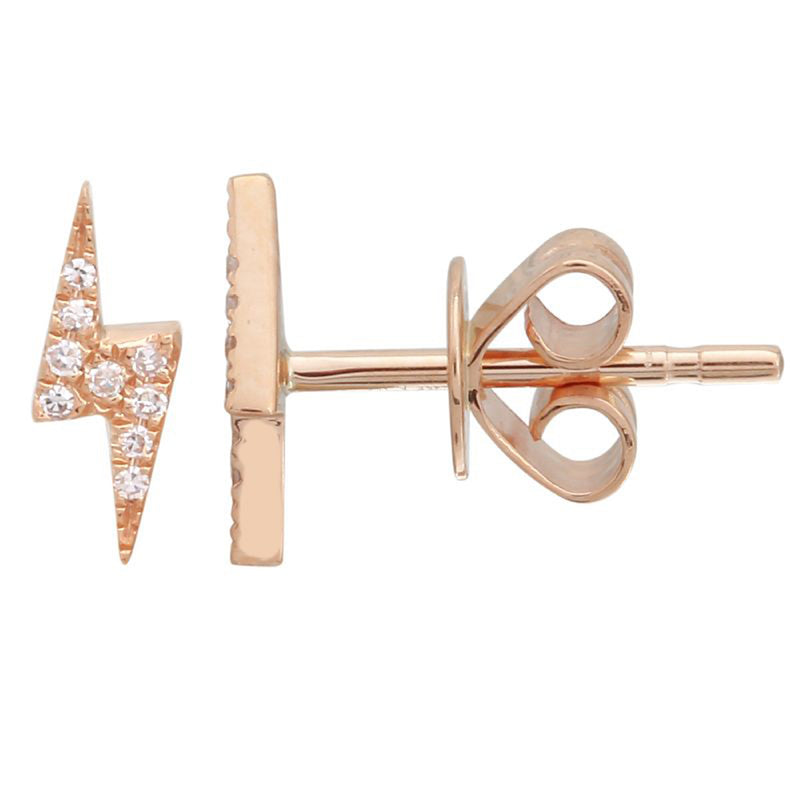 Diamond Lightening Bolt Stud Earrings