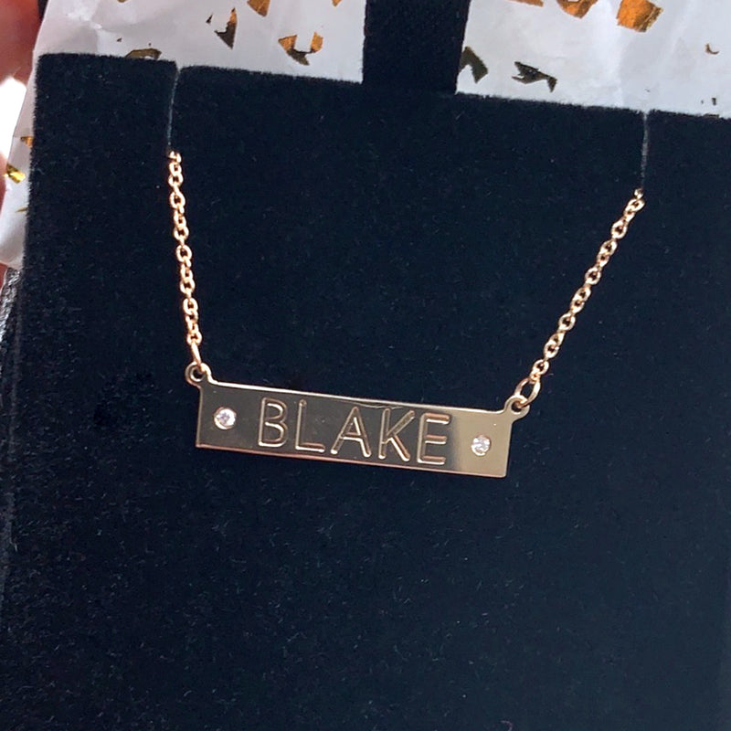 The Ellie Nameplate Necklace with 2 Diamonds