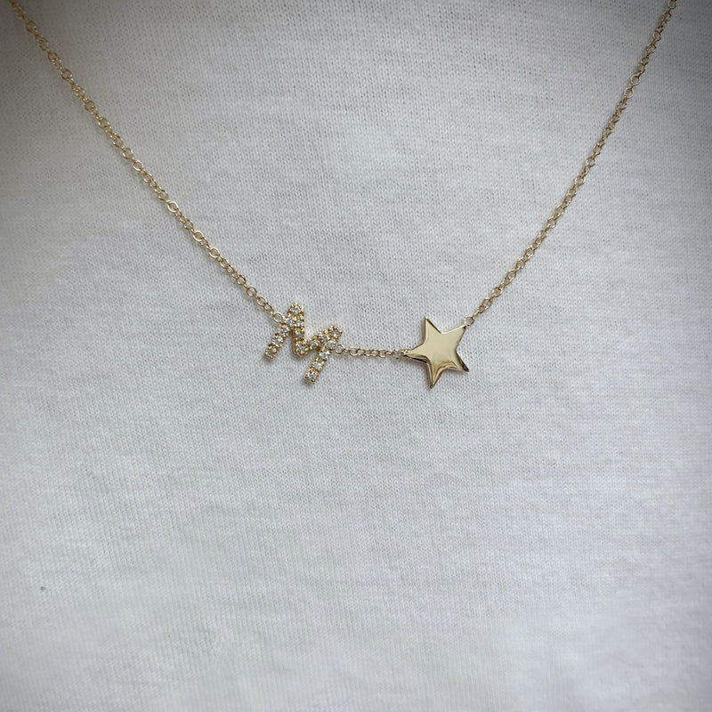 Diamond Initial and Star Necklace