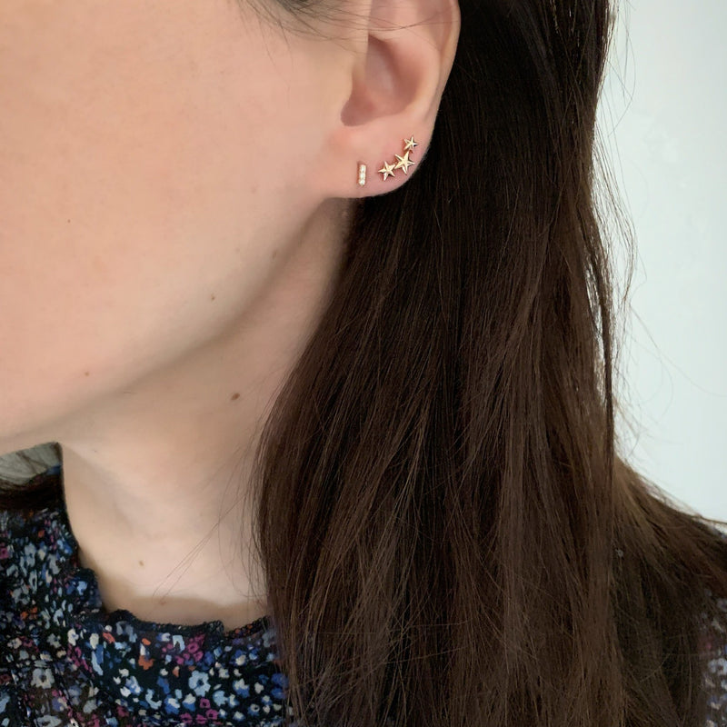Gold Star Crawler Earrings