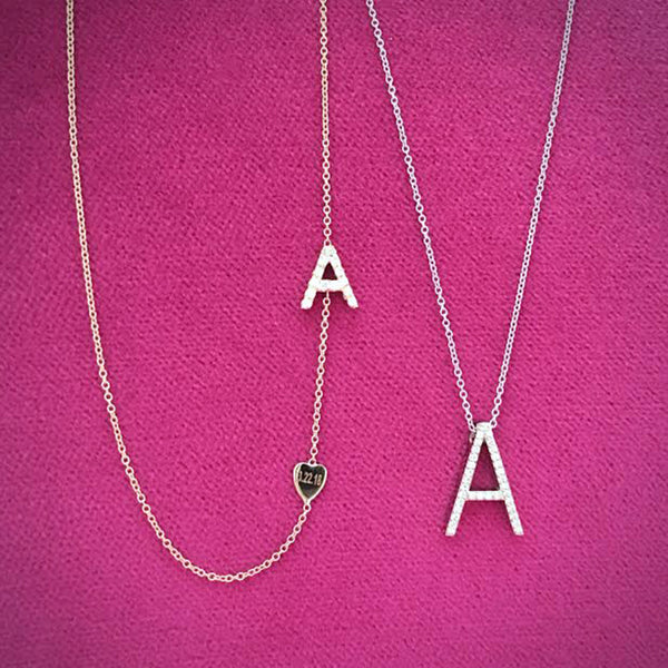 Asymmetrical Diamond Initial and Heart Necklace