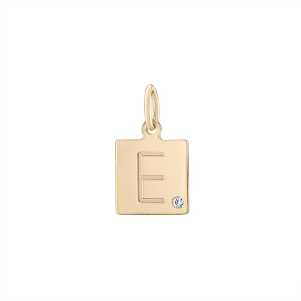 Scrabble Tile Initial Charm with Diamond
