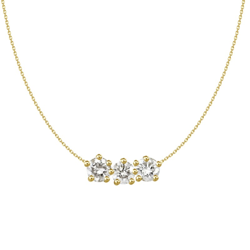 3 Stone Diamond Cluster Necklace