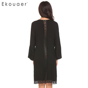 Ekouaer Soft, Light and Lacy Jersey Knit Kimono Robe