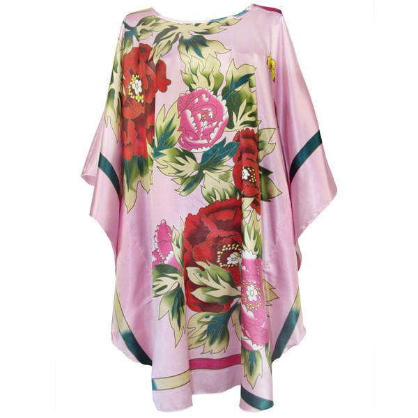 Plus-Sized Satin Print Caftan Cover-Up for Big-Bodied Hotties-- Floral on Pink