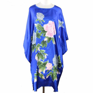 Bloomin' Beautiful Women's Caftan Cover-Up One Size Fits Most- Floral on Royal Blue
