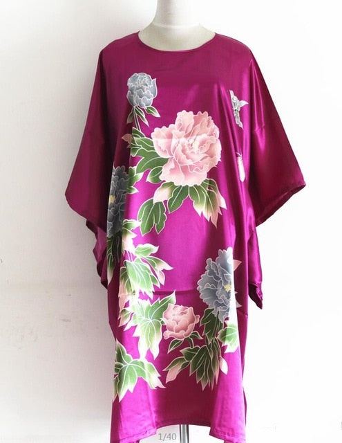 Bloomin' Beautiful Women's Caftan Cover-Up One Size Fits Most- Floral on Dark Pink