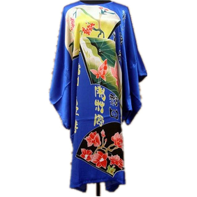Bloomin' Beautiful Women's Caftan Cover-Up One Size Fits Most- Chinese Motif on Blue