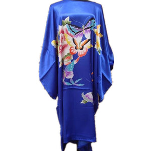 Bloomin' Beautiful Women's Caftan Cover-Up One Size Fits Most- Butterflies on Blue