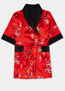 Traditionally styled fully reversible kimono with shawl collar, patch pockets and tie belt. Manufactured in a stunning red silky rayon/polyester with a bird of paradise and Chinese lantern print - a symbol of joy and good fortune to one side. Solid black with large dragon embroidery to reverse side.