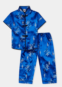 Traditionally styled pyjamas with Chinese features of mandarin collar and flower and knot frog fastenings. Manufactured in rich royal blue silky rayon/polyester with a bird of paradise and Chinese lantern print - a symbol of joy and good fortune. Pyjama top has short sleeves, contrast bound mandarin collar and centre front opening which closes with flower and knot frog fastenings. Elasticated waist pyjama bottoms with contrast piped hem cuffs