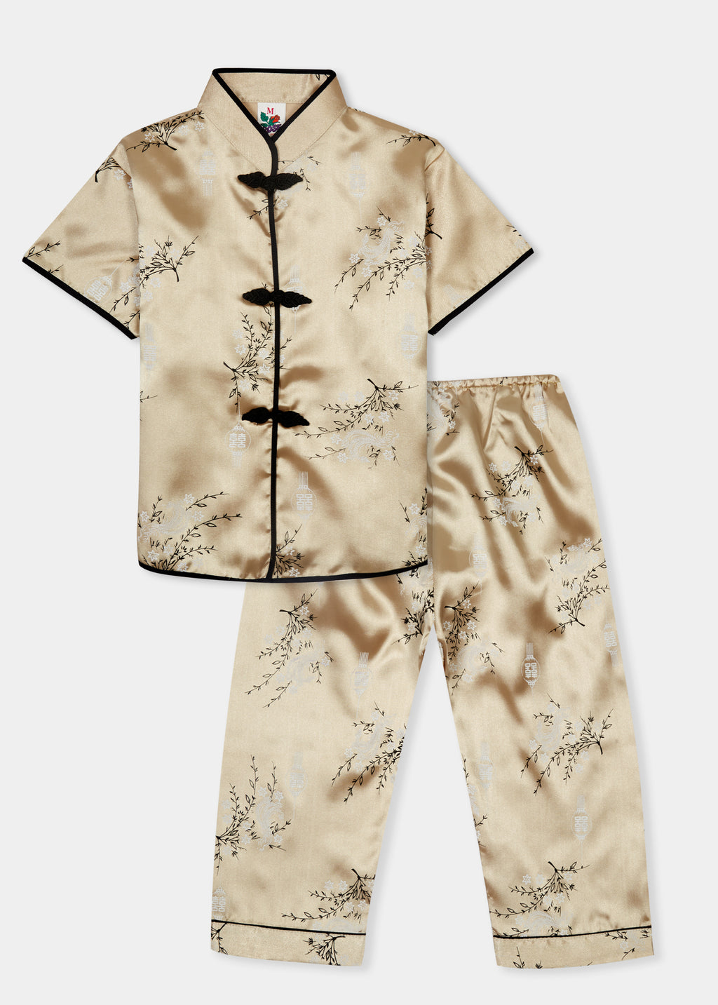 Traditionally styled pyjamas with Chinese features of mandarin collar and flower and knot frog fastenings. Manufactured in a classic gold silky rayon/polyester with a bird of paradise and Chinese lantern print - a symbol of joy and good fortune. Pyjama top has short sleeves, contrast bound mandarin collar and centre front opening which closes with flower and knot frog fastenings. Elasticated waist pyjama bottoms with contrast piped hem cuffs