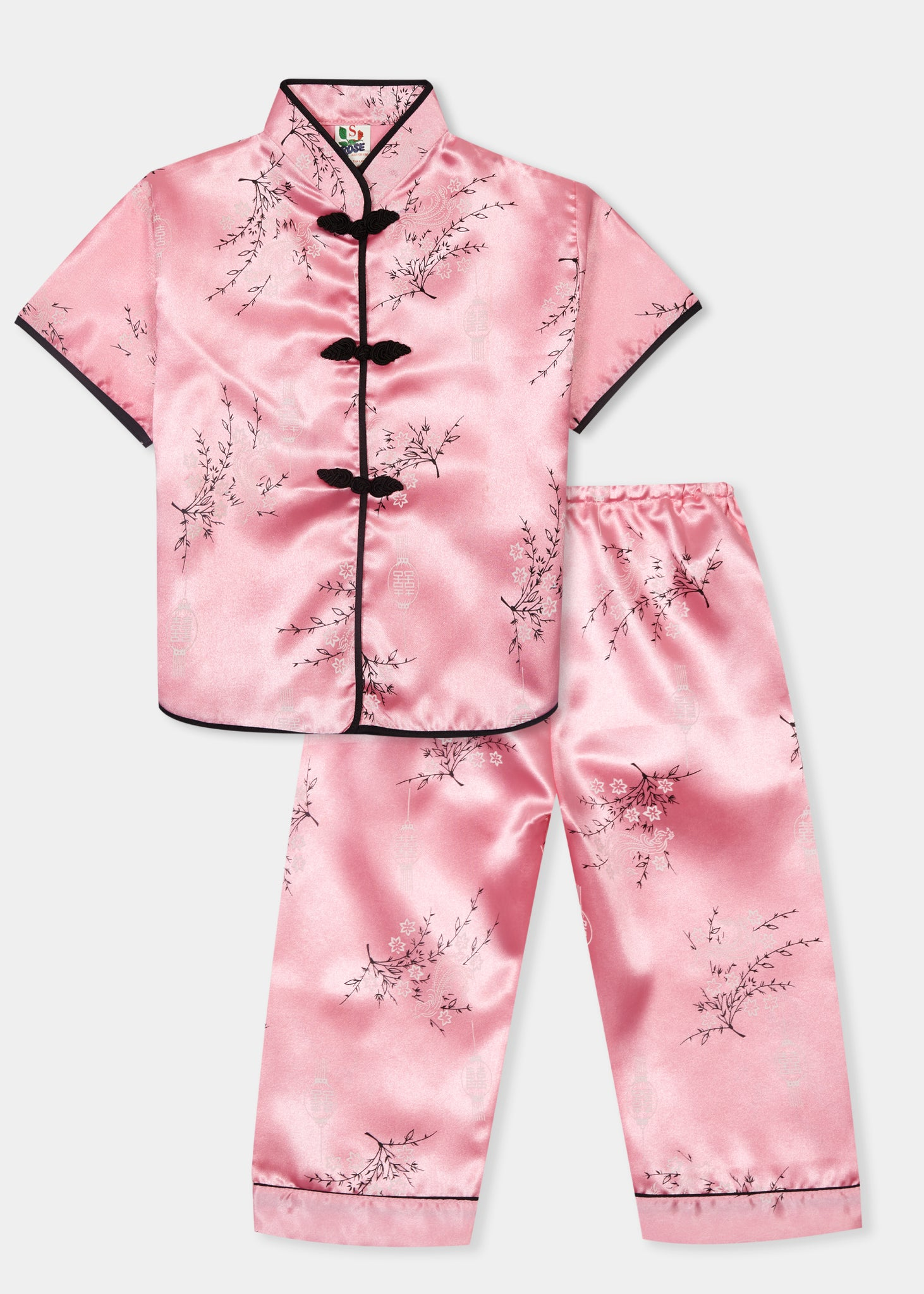 Traditionally styled pyjamas with Chinese features of mandarin collar and flower and knot frog fastenings. Manufactured in a beautiful pink silky rayon/polyester with a bird of paradise and Chinese lantern print - a symbol of joy and good fortune. Pyjama top has short sleeves, contrast bound mandarin collar and centre front opening which closes with flower and knot frog fastenings. Elasticated waist pyjama bottoms with contrast piped hem cuffs