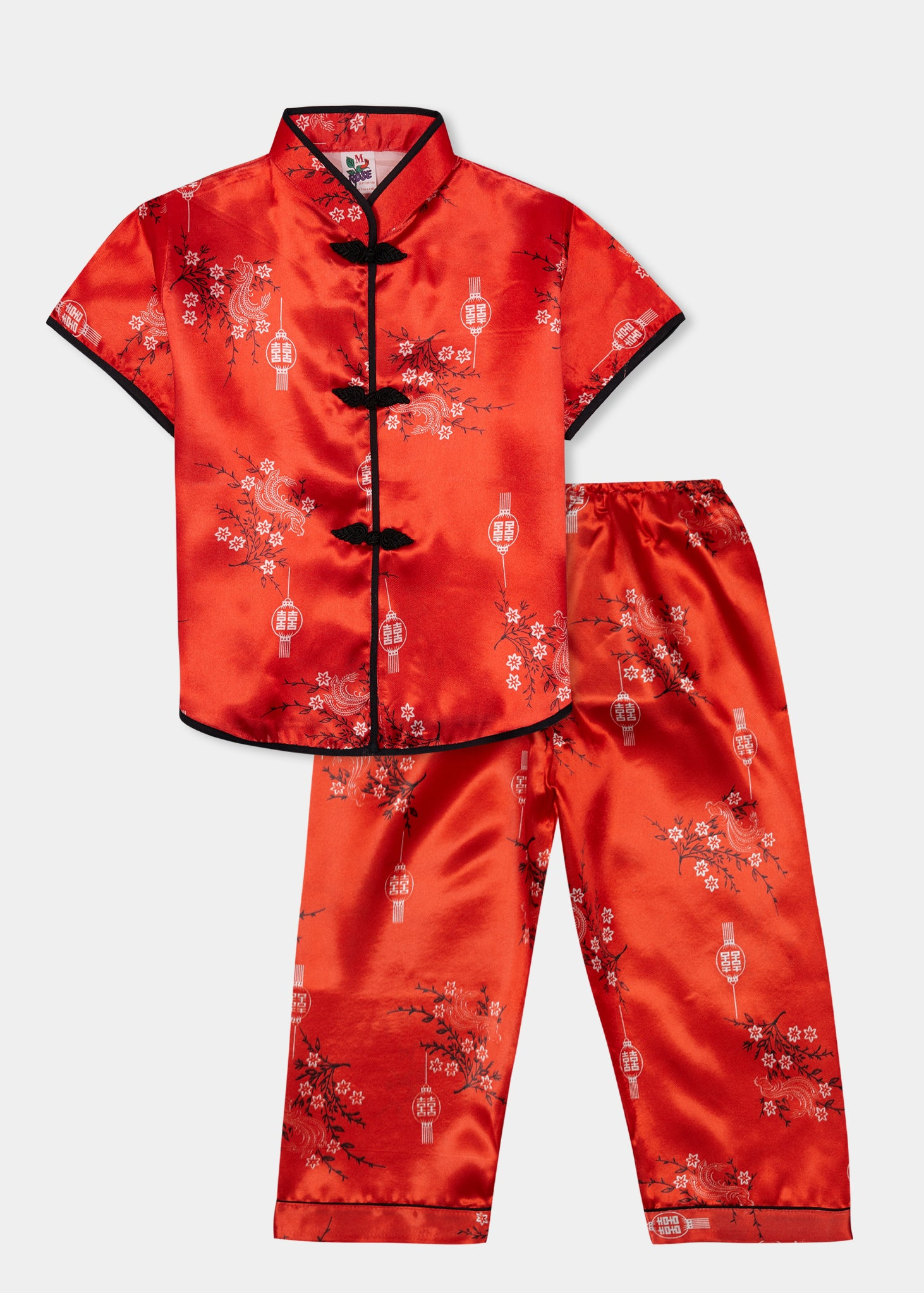 Traditionally styled pyjamas with Chinese features of mandarin collar and flower and knot frog fastenings. Manufactured in a stunning red silky rayon/polyester with a bird of paradise and Chinese lantern print - a symbol of joy and good fortune. Pyjama top has short sleeves, contrast bound mandarin collar and centre front opening which closes with flower and knot frog fastenings. Elasticated waist pyjama bottoms with contrast piped hem cuffs